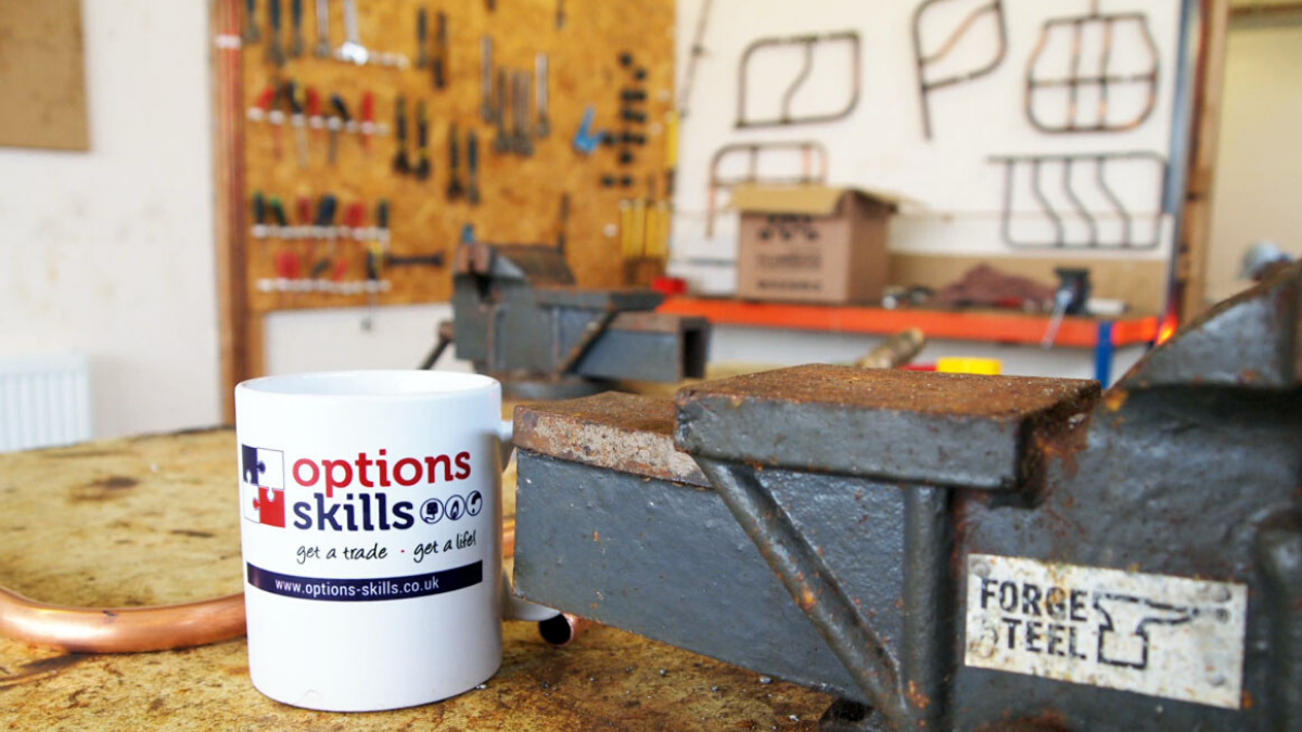 Brand Elements - Options Skills mug on gas work bench