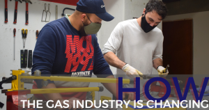two gas industry students in the workshop