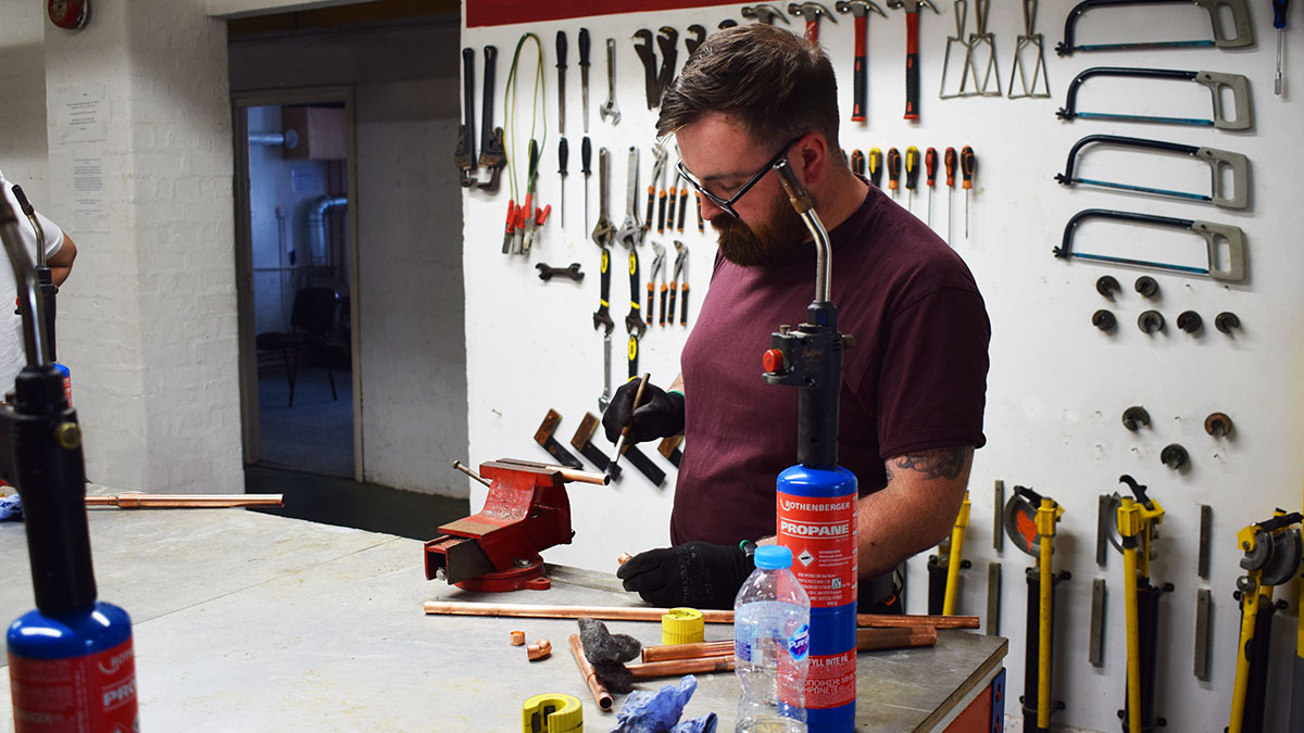 Student in the gas engineers workshop
